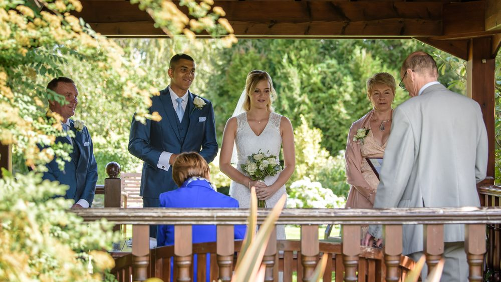 Outdoor ceremony in gazebo at Cragwood in Lake District