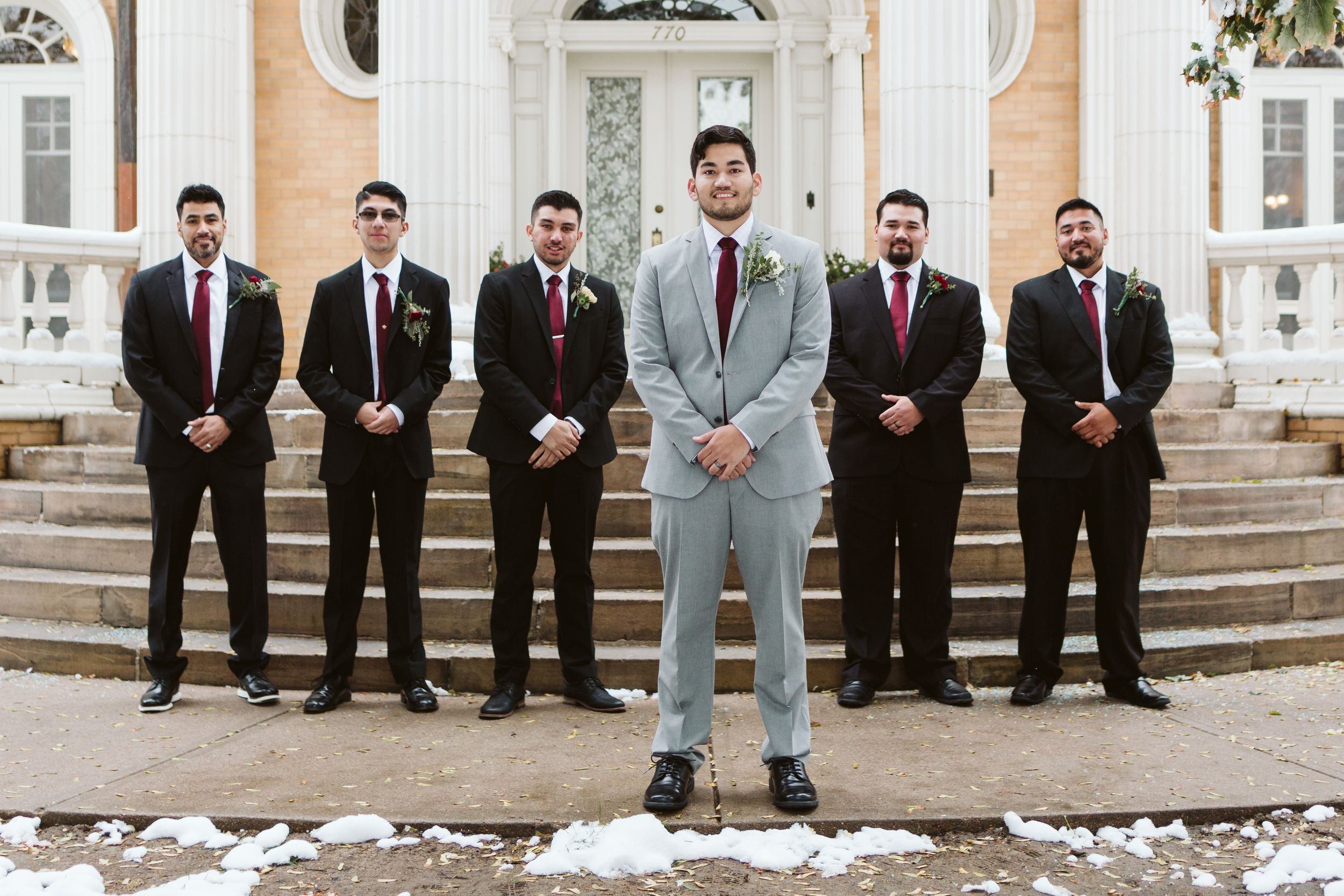 Denver wedding photography inspiration, groom and groomsmen portraits, best Colorado venues, winter wedding