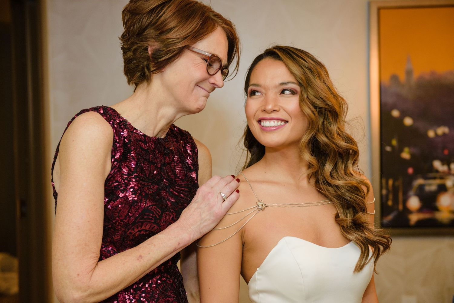 Bride and Mother getting ready for wedding at Cleveland Hilton