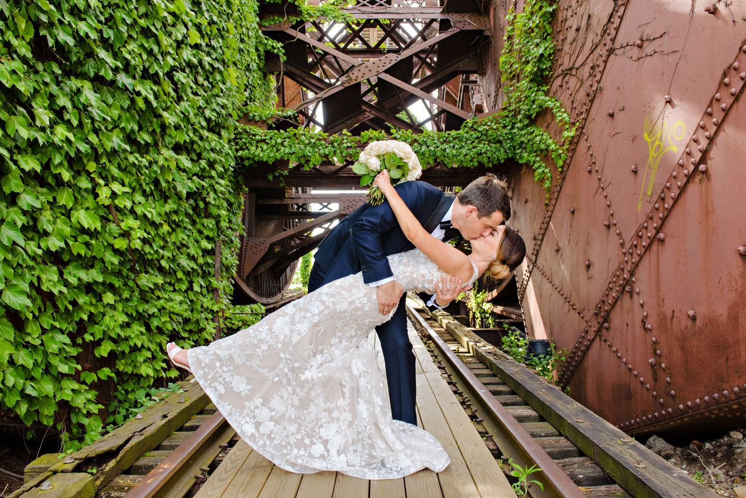 Bride and Groom wedding portrait at Jacknife Bridge in Cleveland
