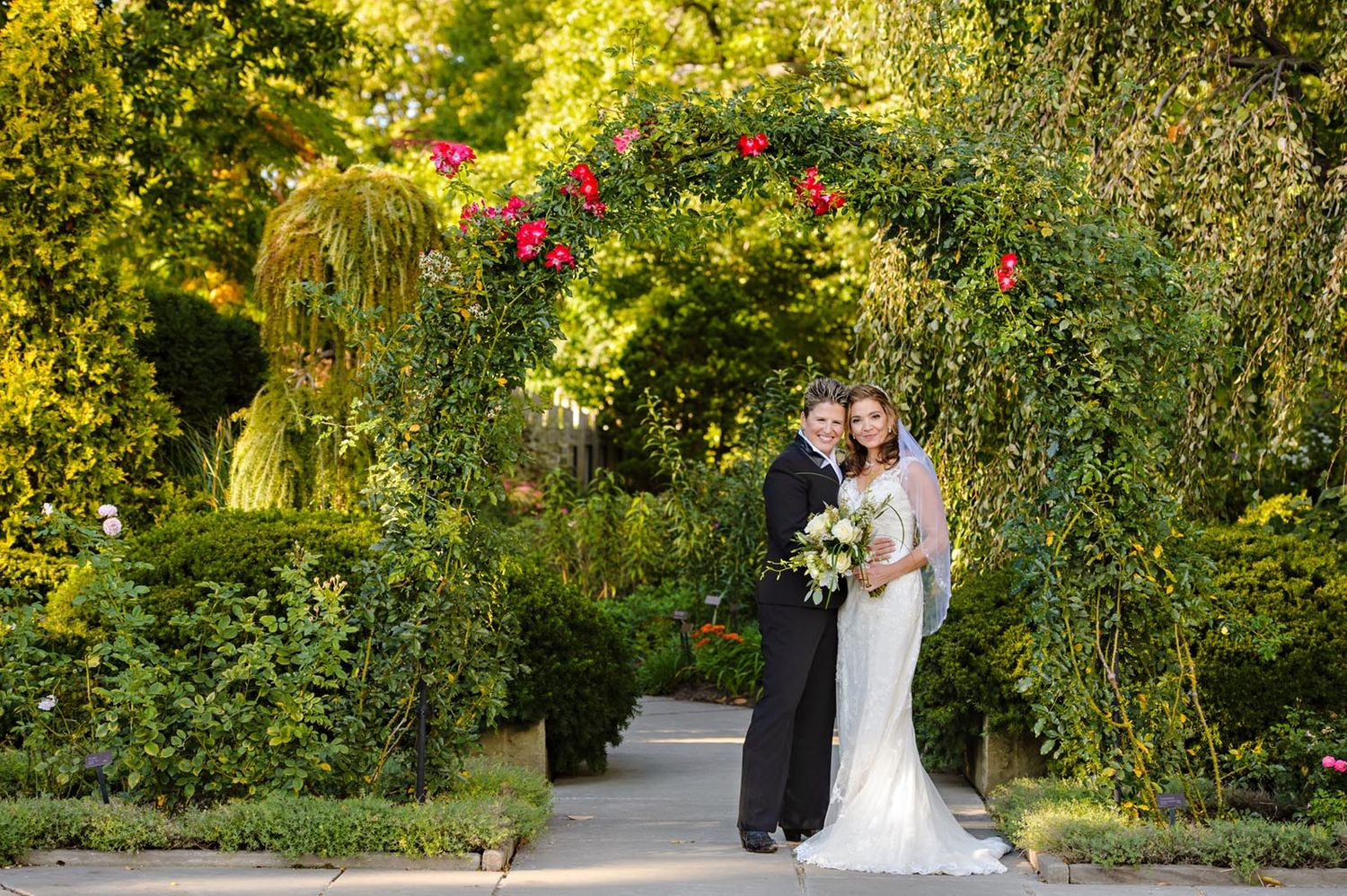 Lesbian October wedding at Cleveland Botanical Gardens