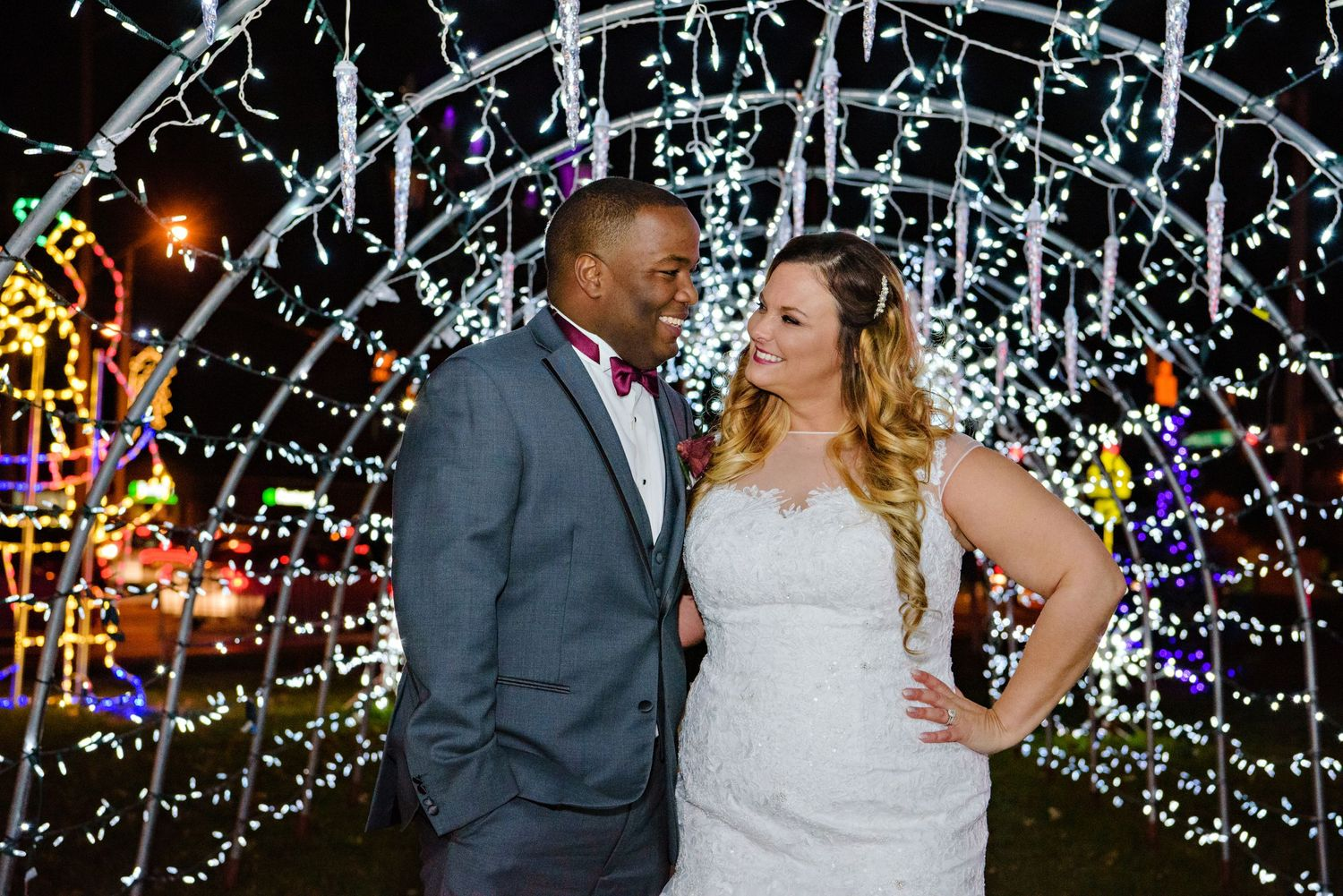 Bride and Groom photo in Strongsville Square with Christmas Lights