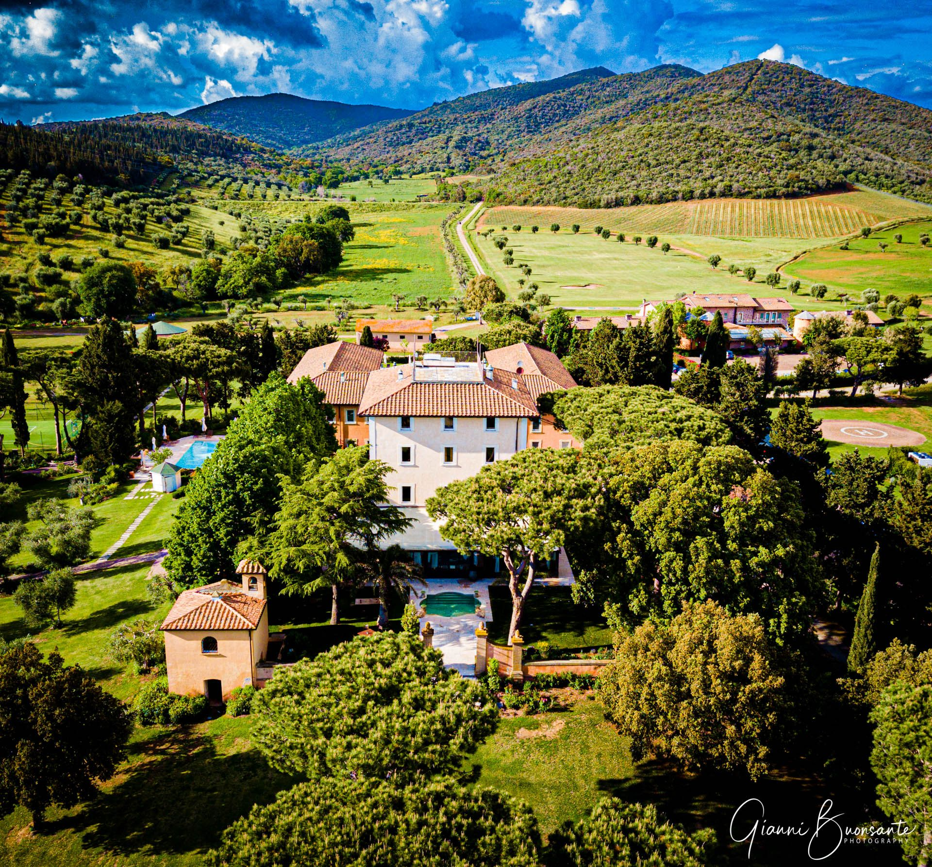 L'Andana Resort in Tuscany Aerial view. Hotel Photography Gianni Buonsante