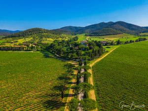 L'Andana Resort in Tuscany Aerial view with. Hotel Drone Photography Gianni Buonsante