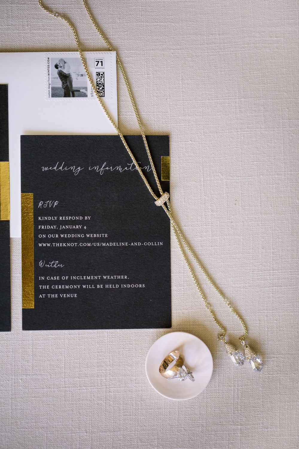 Modern black and gold wedding invitations.