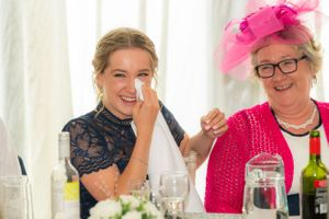 tears and laughter at the wedding breakfast, Robert Nelson Wedding Photography