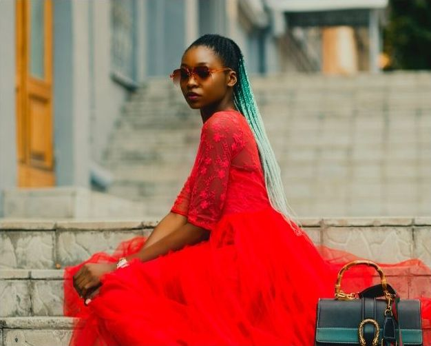 Black lady in bright red dress, Brand, Photography