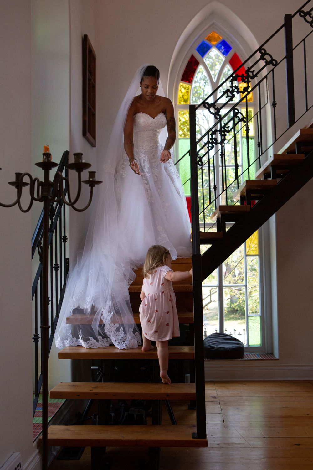 Kawartha Lakes Little brick church manilla, ontario bride and flower girl