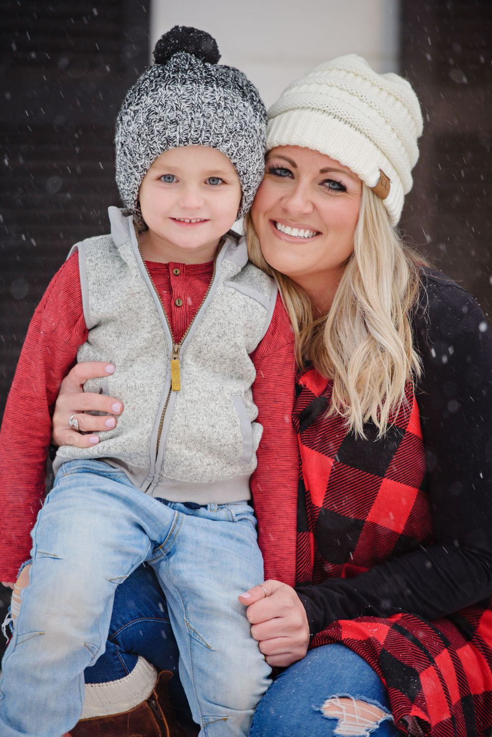 Winter mother and son portrait in North Canton Ohio