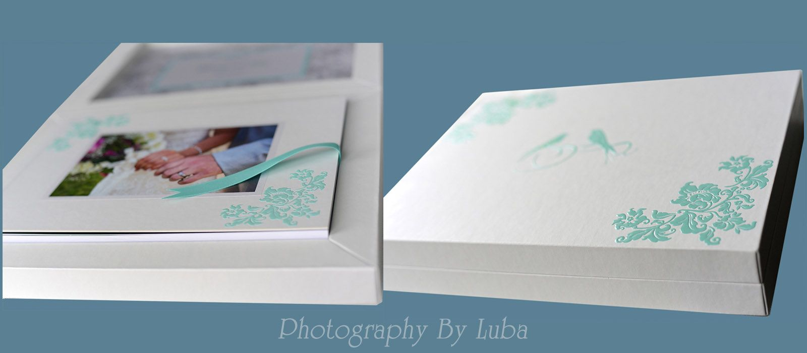 wedding story book in a white box with custom teal embroidery photographer luba wold hands with rings