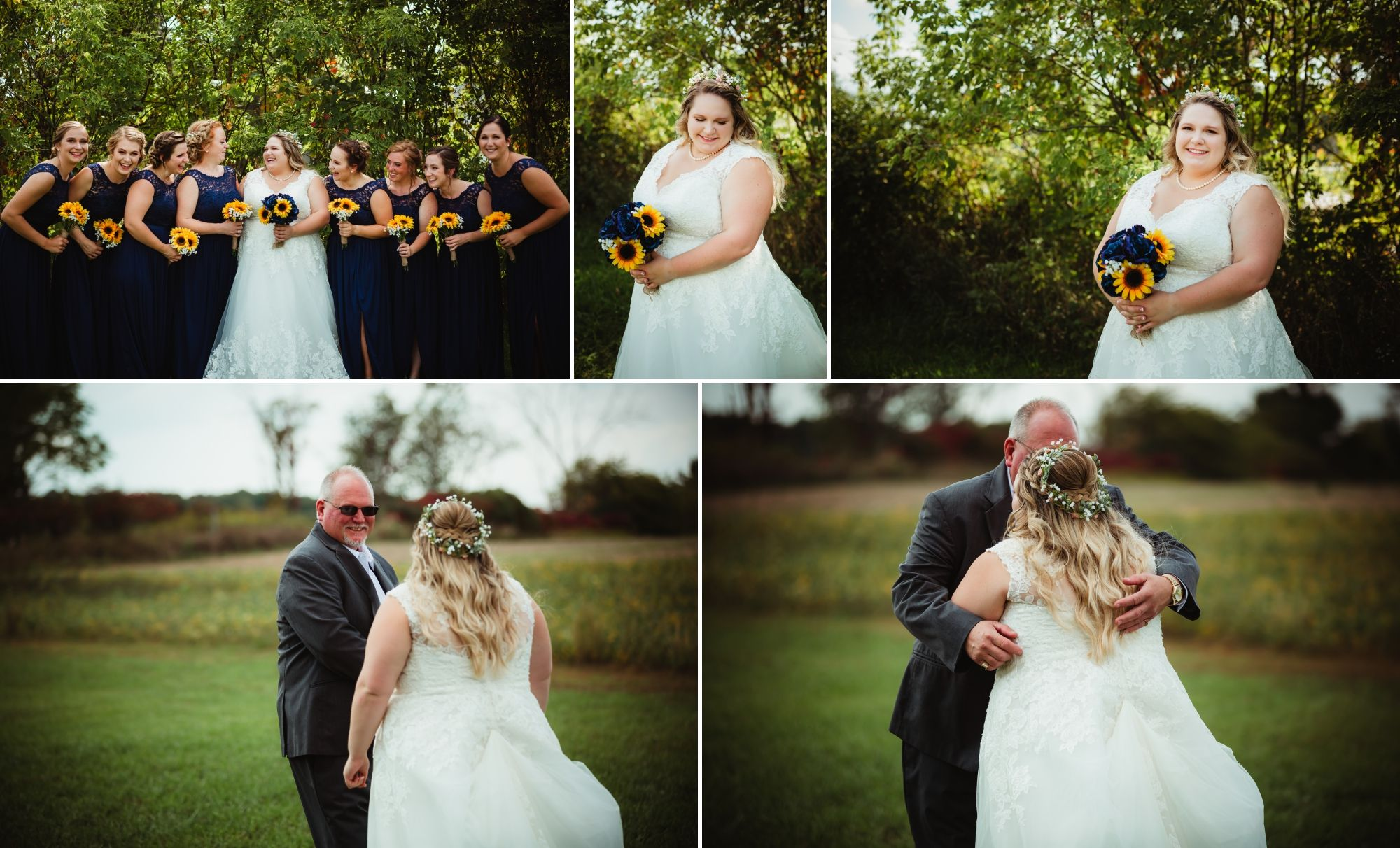 Collage of bridesmaids, bride, and bride's dad seeing her for the first time in her long lace dress.