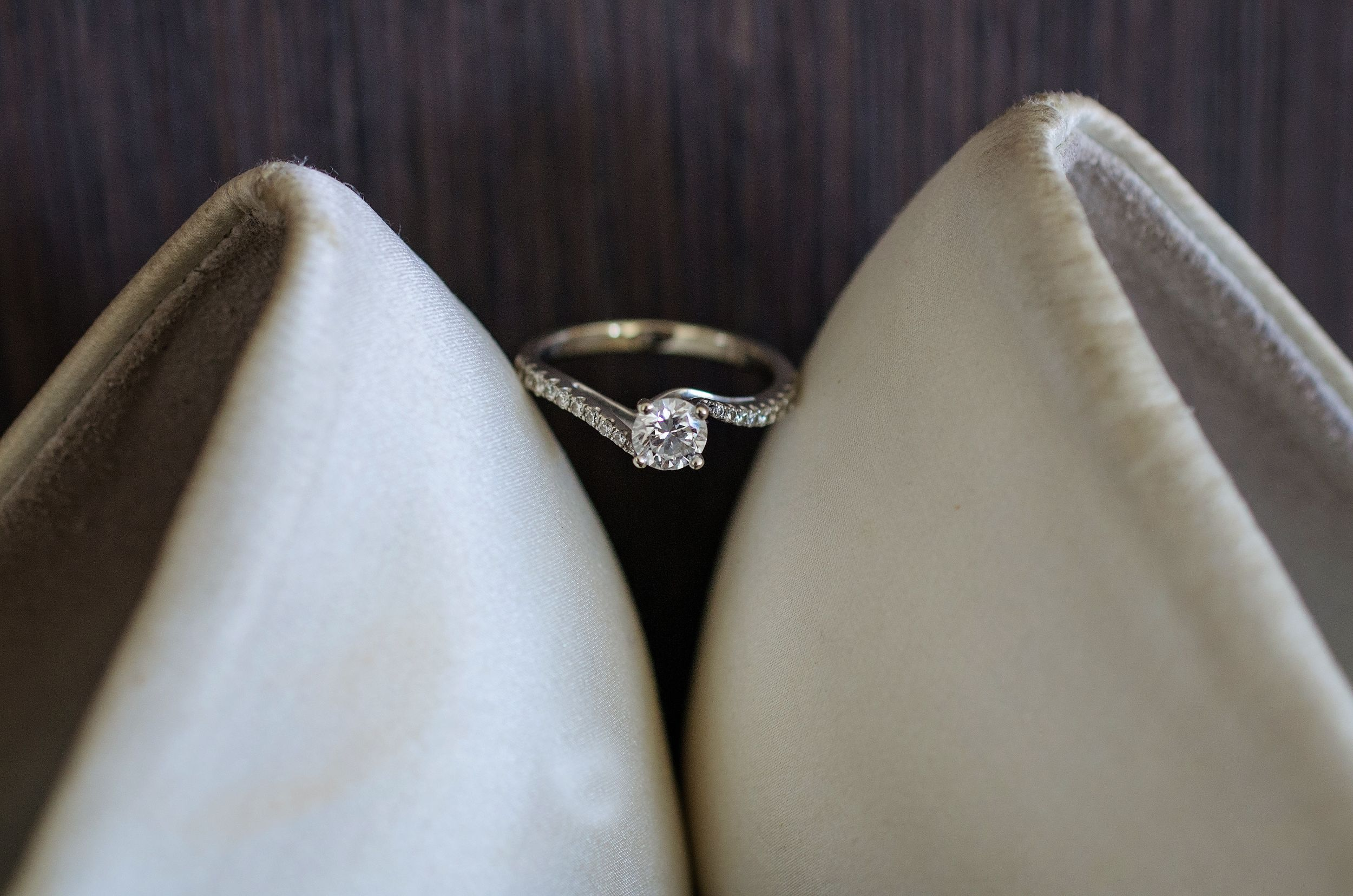 close up of diamond engagement ring