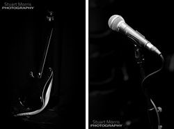 detail shot of a guitar and microphone on their stands