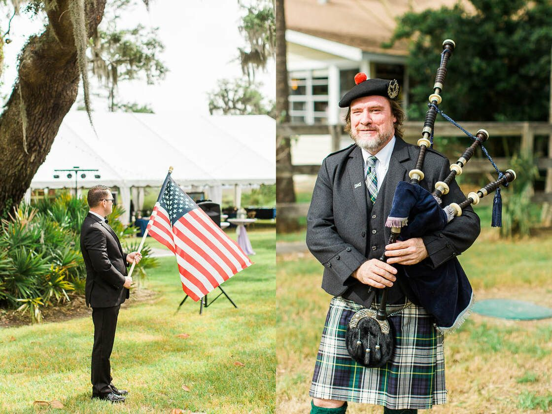 american flag and big pipes displayed during wedding ceremony at captain's bluff on st simon's island, ga
