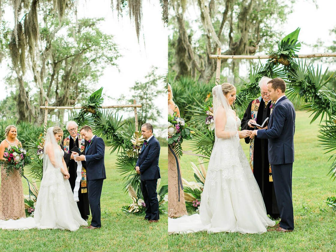 bride and groom take each other's hands during wedding ceremony