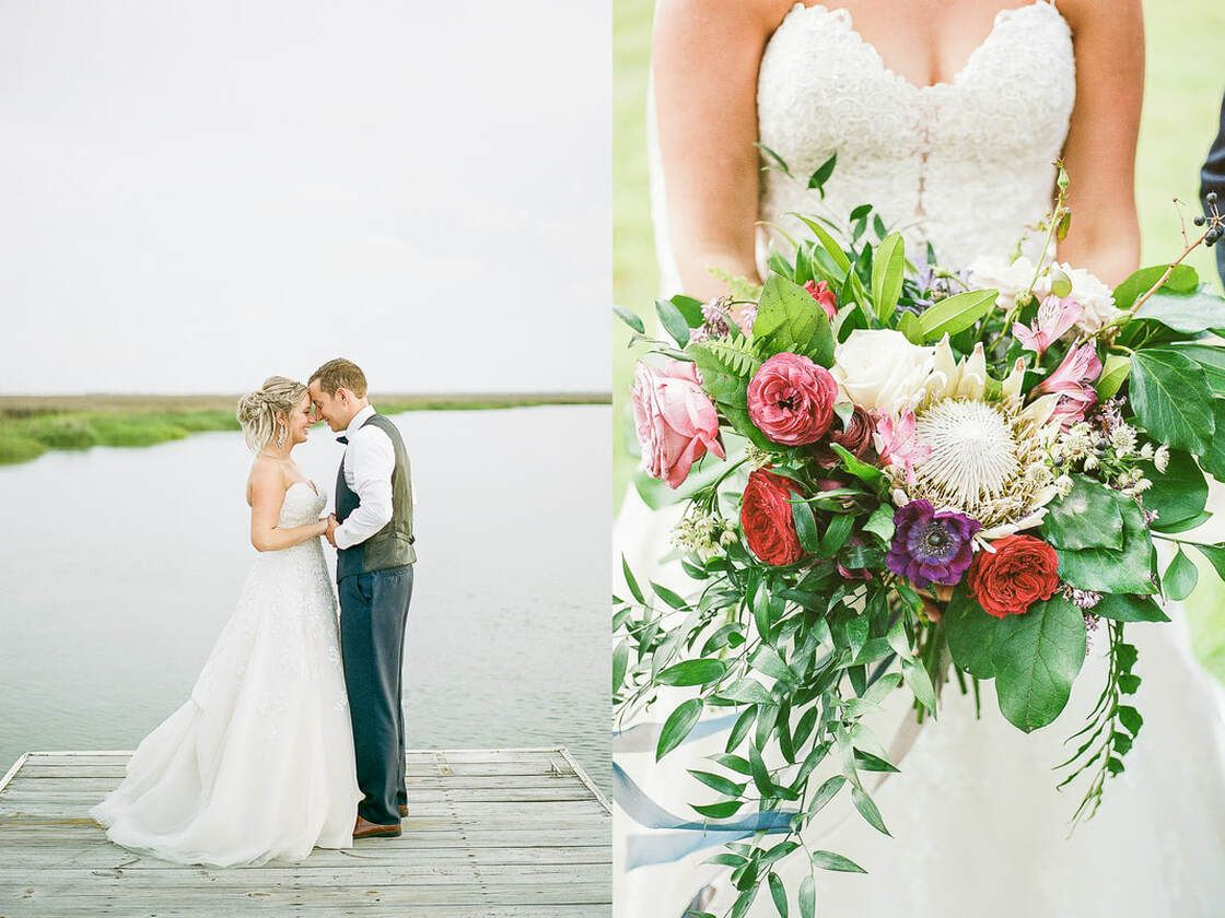 bride and groom take portraits around captain's bluff on st simon's island, ga with florals by ivory and beau