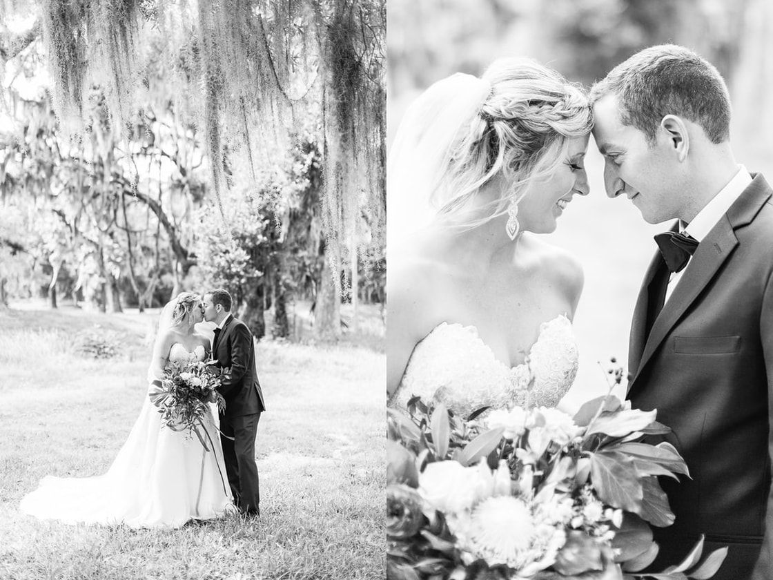 bride and groom taking their wedding day portraits at fort frederica on st simons island, ga