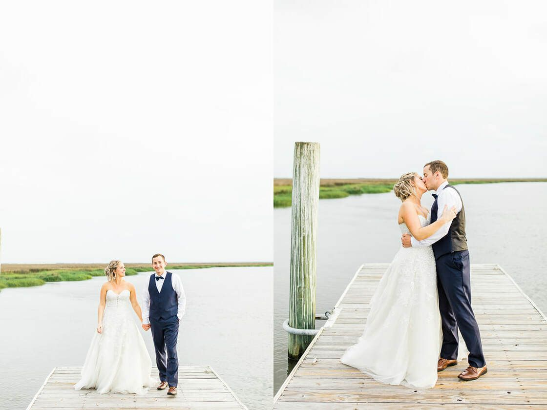 bride and groom take portraits on the dock at captain's bluff on ssi