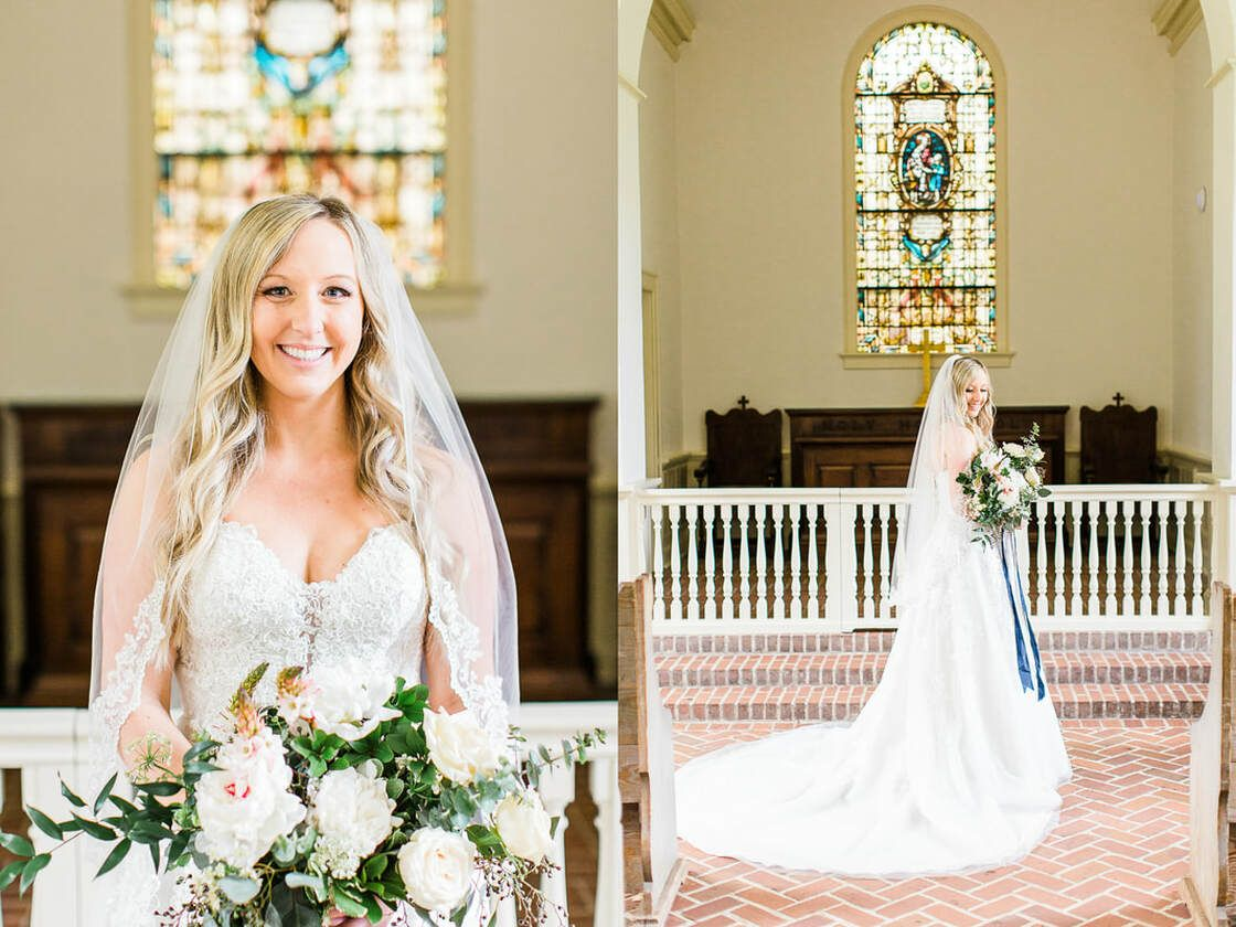 bride poses for bridal portraits in whitefield chapel at bethesda academy in savannah, ga