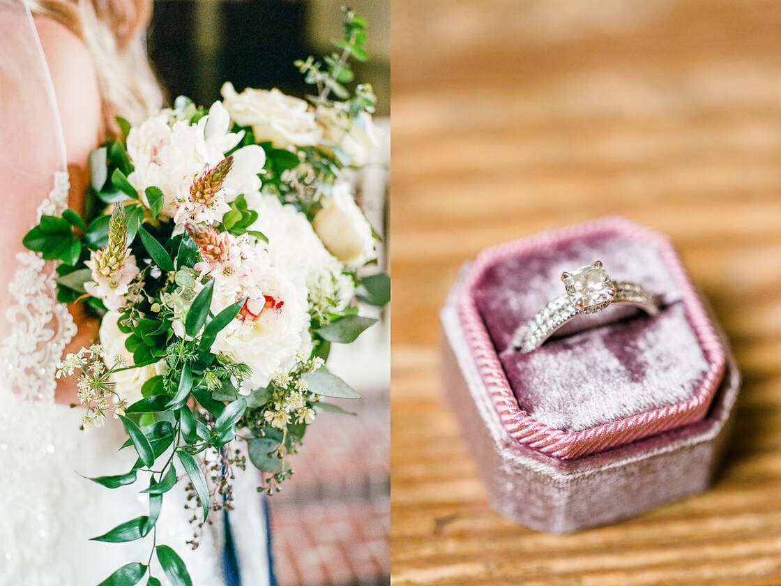 bridal bouquet and ring details at bethesda academy in savannah, ga