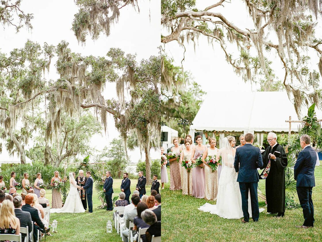 wedding ceremony at captain's bluff in ssi