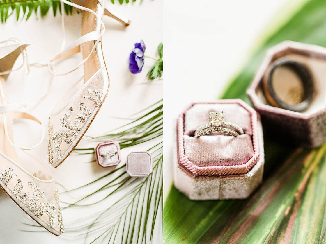 wedding details of bridal shoes and engagement ring take at captain's bluff in saint simons island, ga