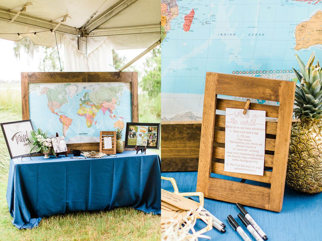 around the world map guest book at captain's bluff wedding on st simons island