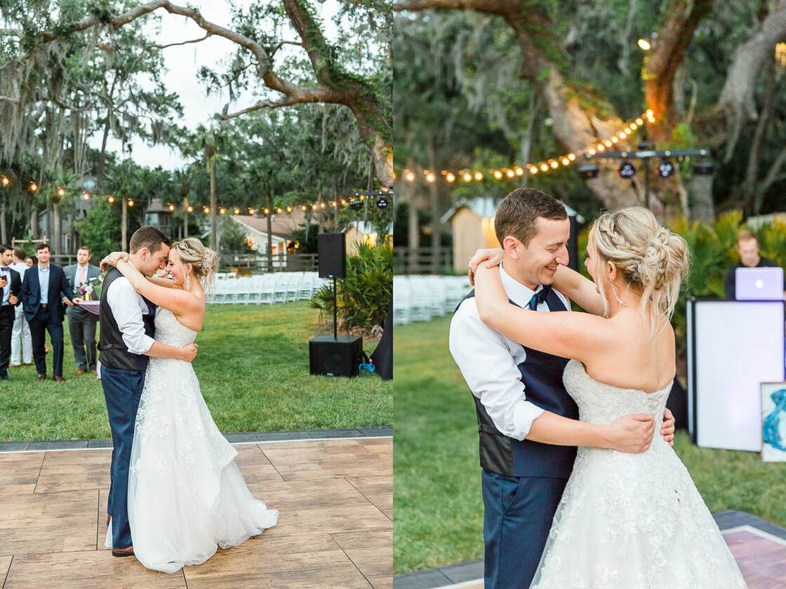 bride and groom share first dance at sunset under the oak trees