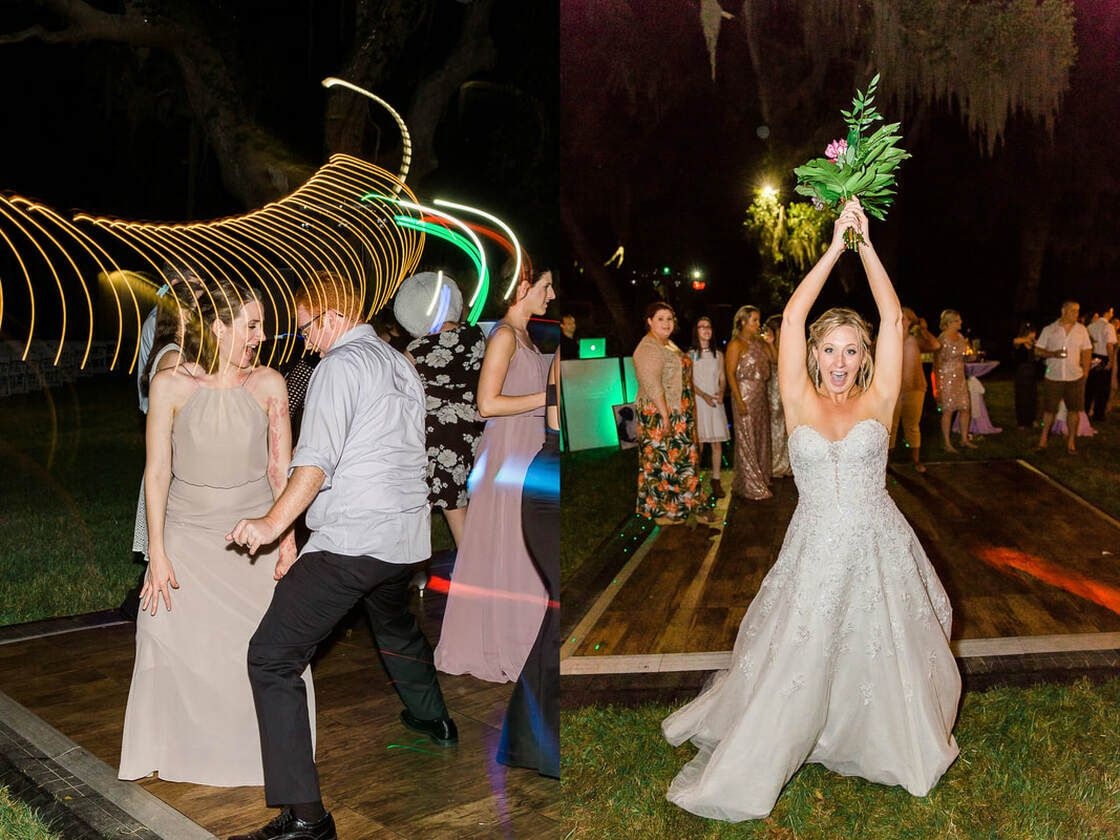 bride tosses bouquet during wedding reception in ssi