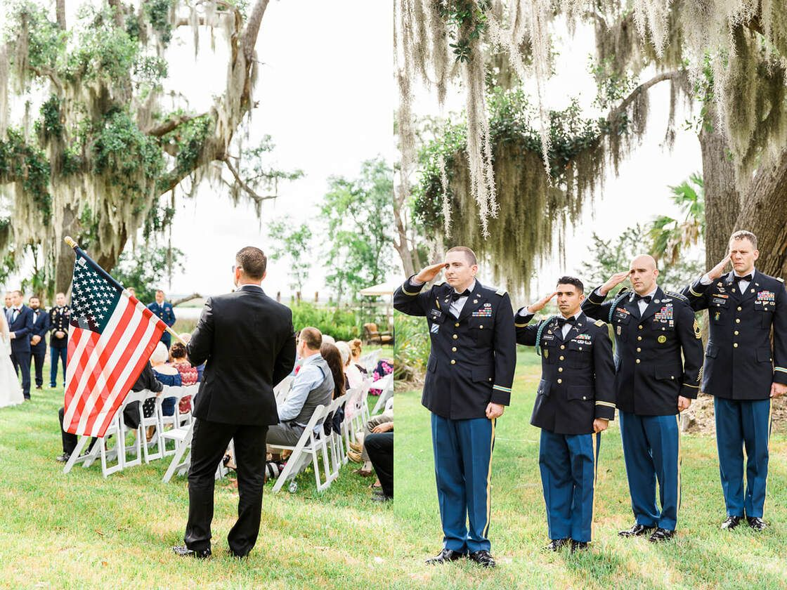 guests and army men salute the american flag during wedding ceremony in ssi