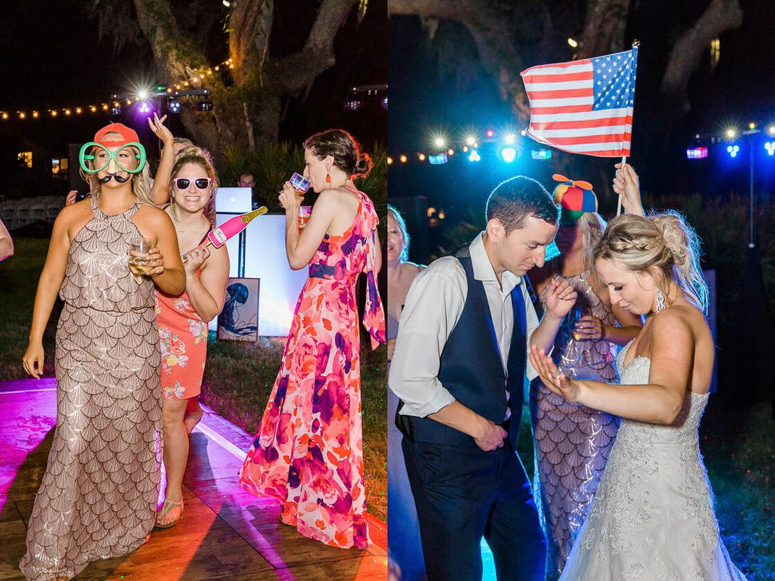 wedding party and guests dance all night long at captain's bluff on st simon's island