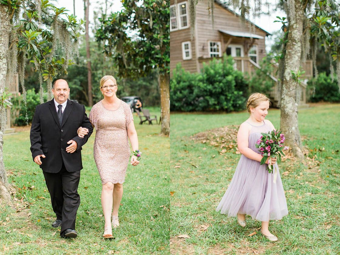 wedding party and family process during the ceremony at captain's bluff in st simons island, ga