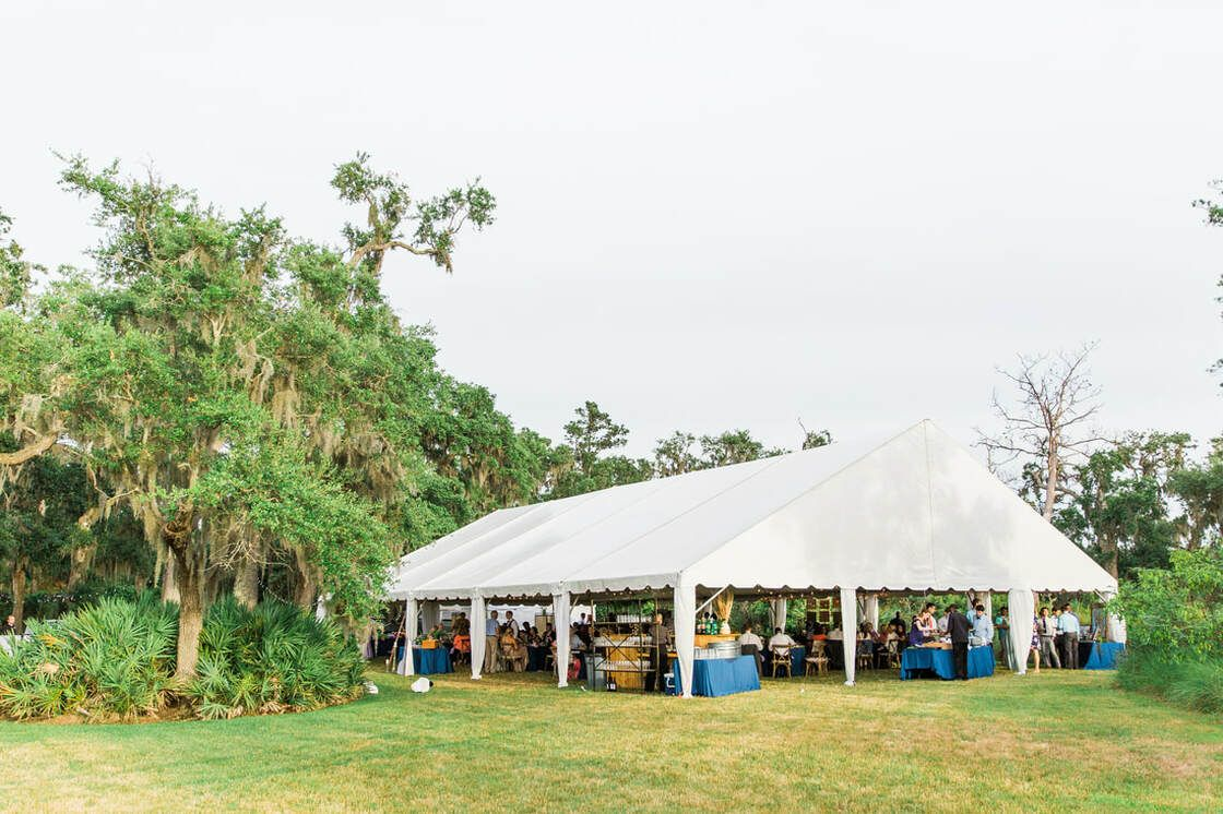 wedding reception tent at captain's bluff on st simons island