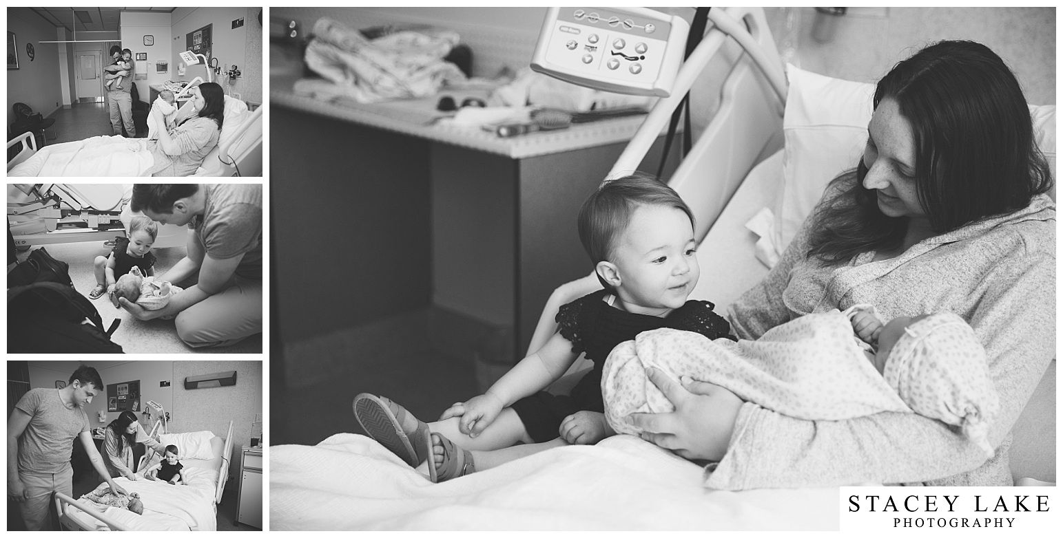 black and white photographs of a new family in hospital during a Fesh48 Session by Stacey Lake Photography