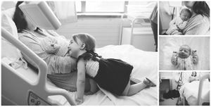 black and white photographs of a sibling with a new baby in hospital during a Fesh48 Session by Stacey Lake Photography