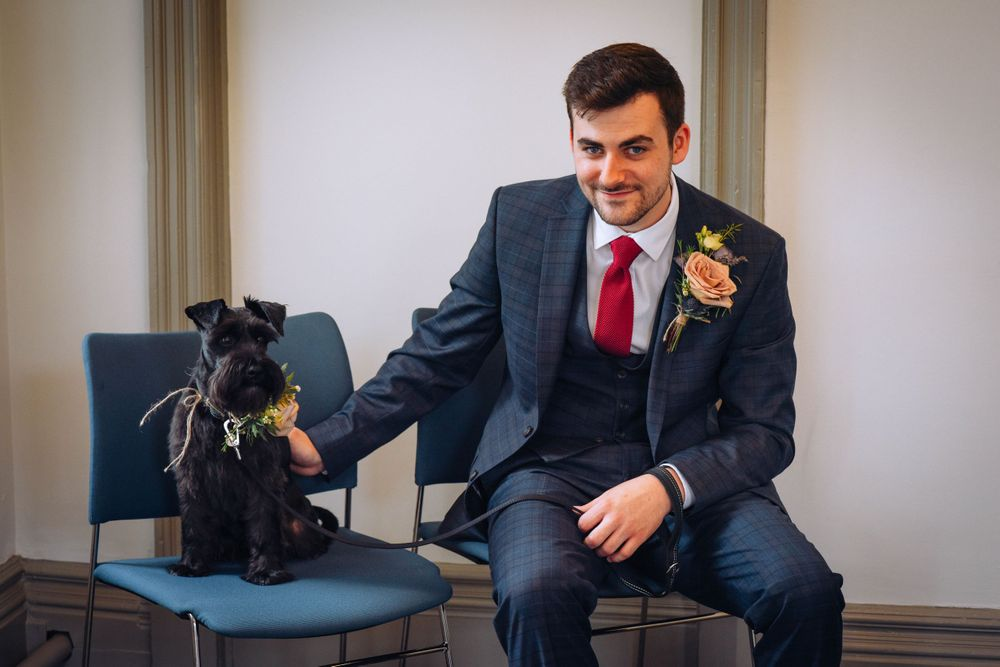 Frome Town Hall wedding by Zara Davis Photography, Gloucestershire groom and dog