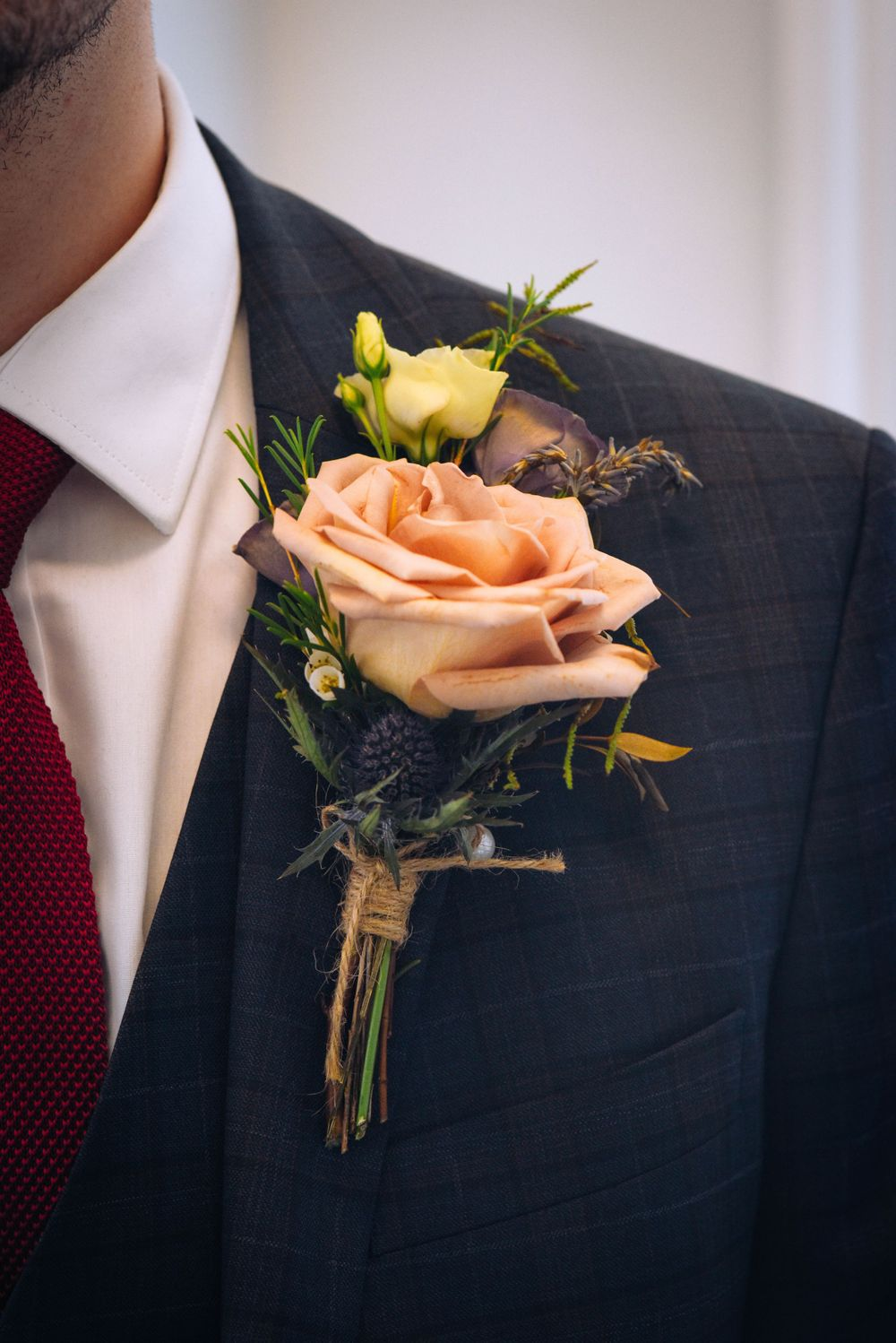 Frome Town Hall wedding by Zara Davis Photography, Gloucestershire groom buttonhole lynne jessett floristry
