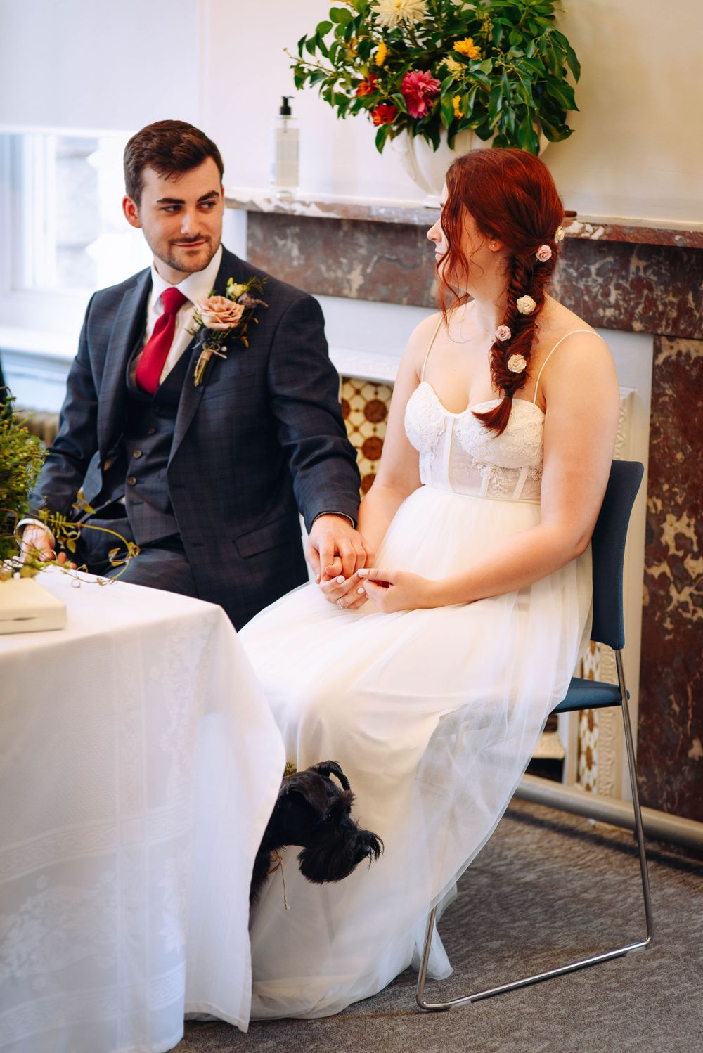 Frome Town Hall wedding by Zara Davis Photography, Gloucestershire bride groom and dog sat down