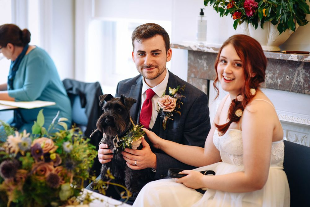 Frome Town Hall wedding by Zara Davis Photography, Gloucestershire petting dog with bride looking at me