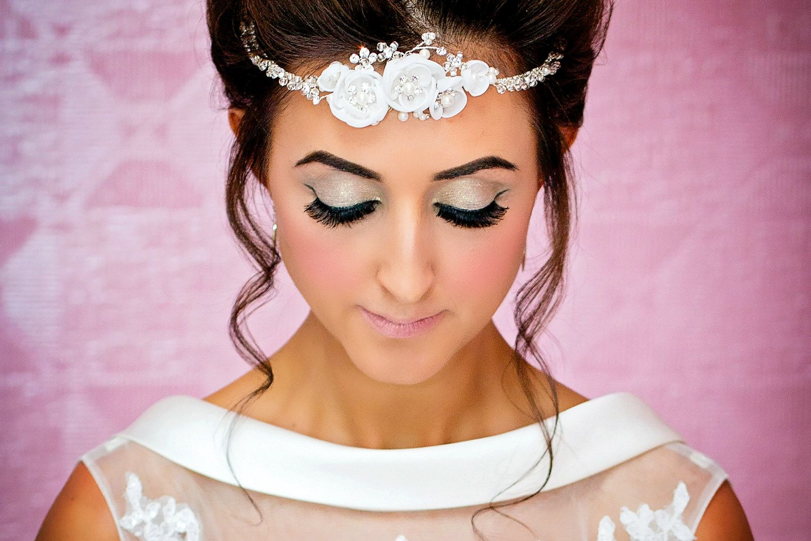 bride with ornate headband