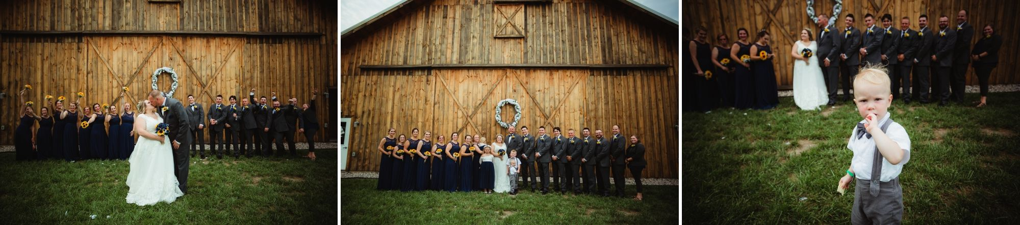 Collage of the entire wedding party in front of the barn.