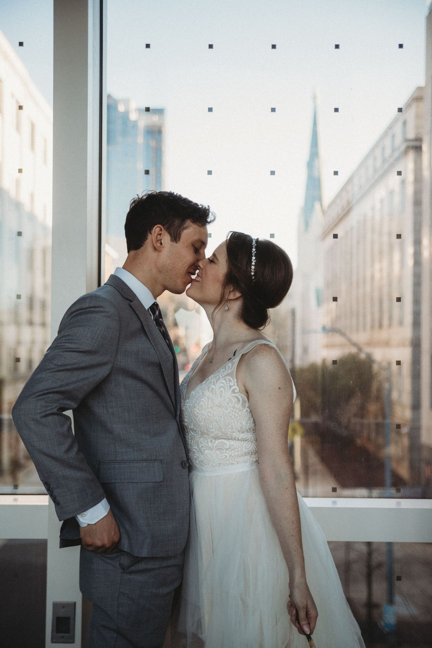 wedding portraits on skywalk