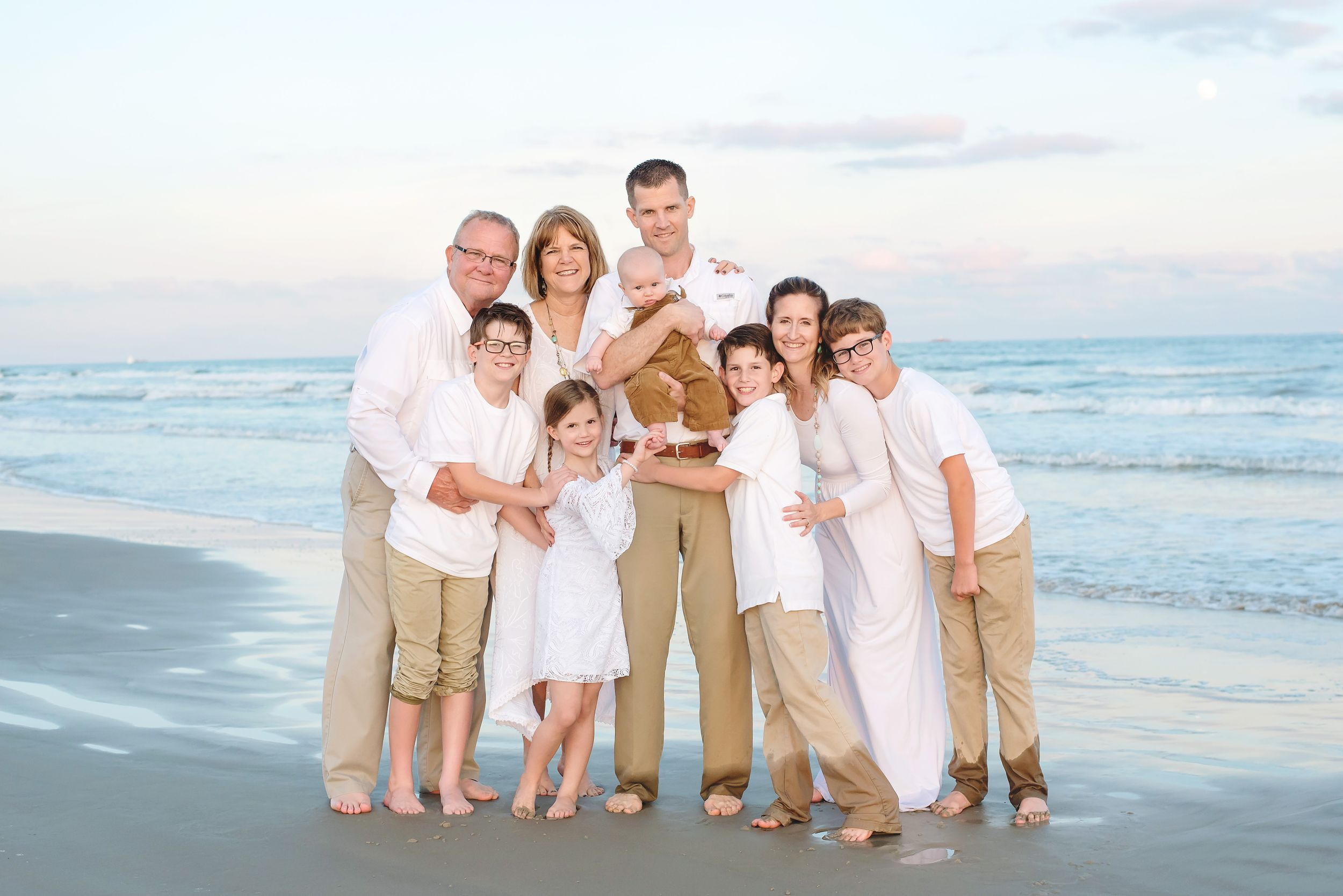 Family beach photo in Port Aransas, TX