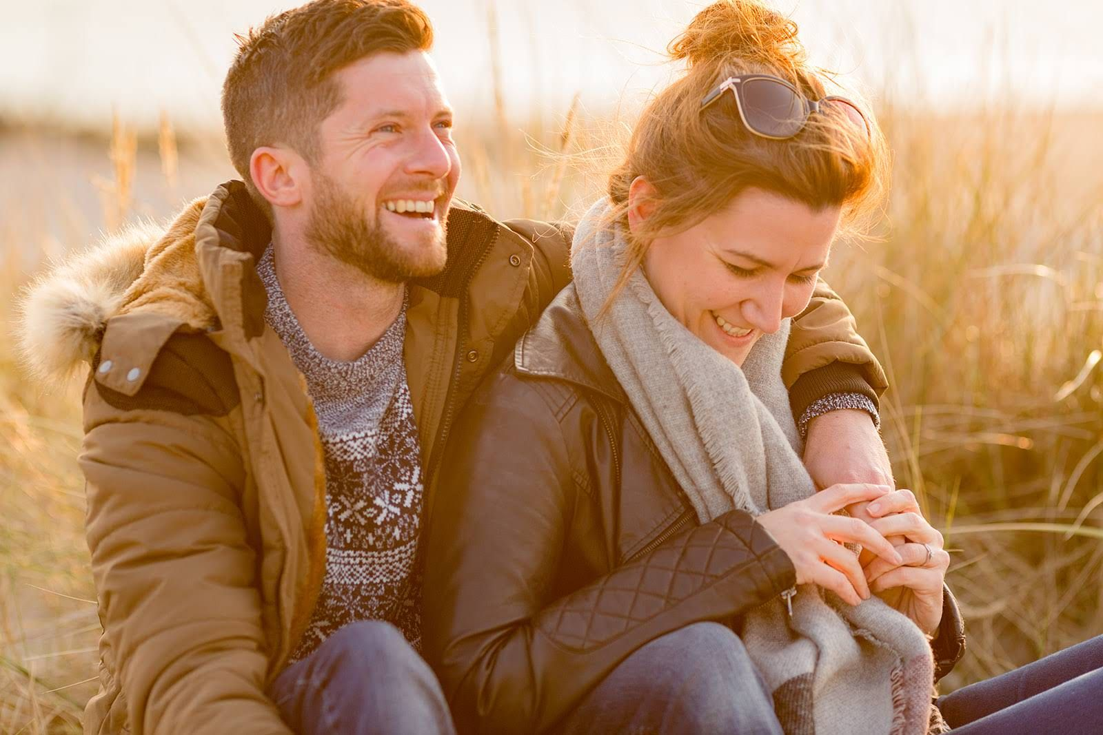 west wittering beach engagement session at sunset