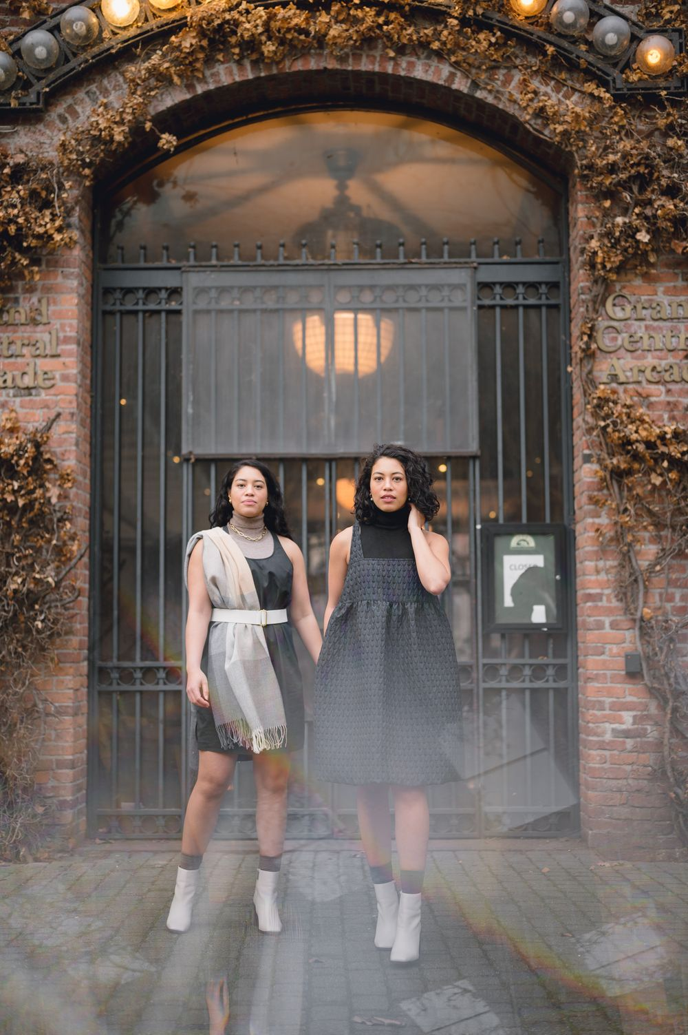 Clothing campaign brand portrait by Tiffany Kelterer of 2 woman in brick alley Pioneer Square Seattle