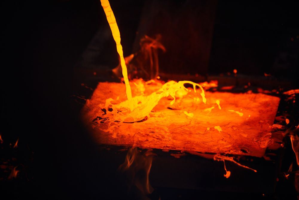 molten iron being poured
