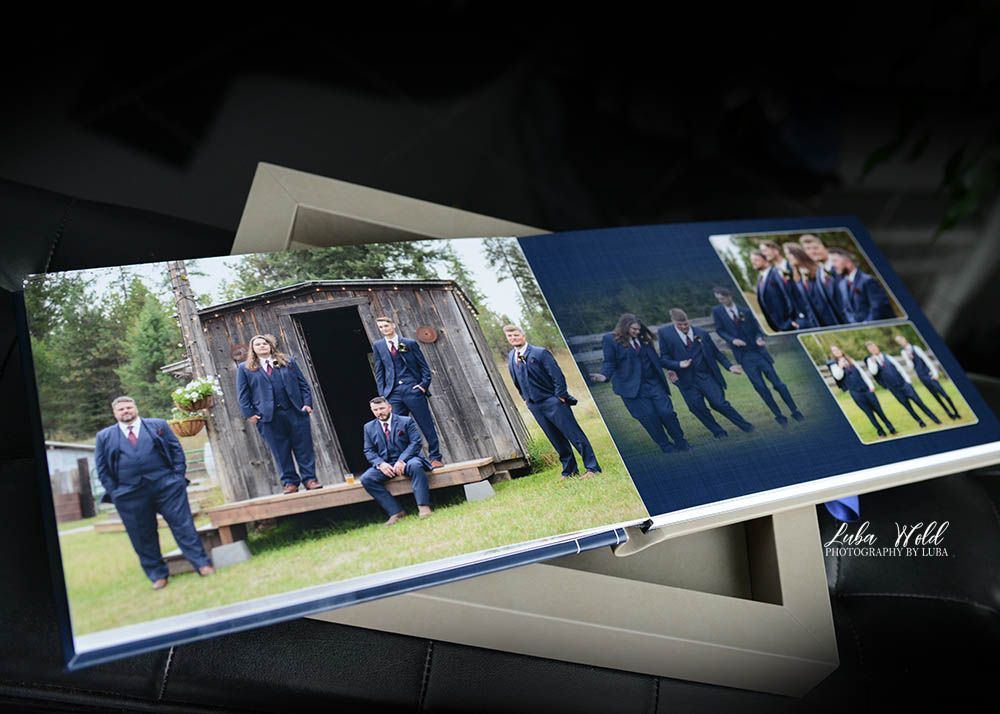 the hitchin barn wedding book page with groom and groomsmen photographer luba wold casual before ceremony Idaho