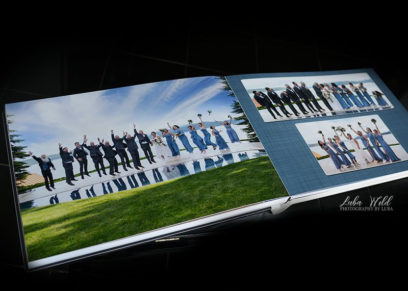 wedding book with bridal party jumping in air by lake Coeur d Alene at Hagadone event center photographer luba wold