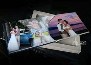 Jewett House wedding book page in Coeur d alene sunset romantic photos photographer luba wold