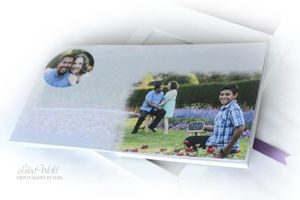 engagement guest book page showing creative photo with date of big day photographer luba wold in Manito park